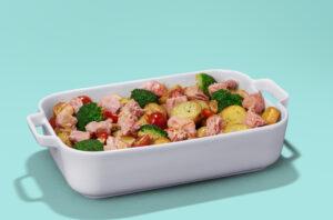 Atum ao Forno com Batata e Brócolis